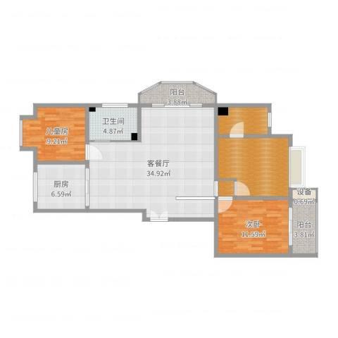 嘉禾花园2室2厅1卫1厨115.00㎡户型图