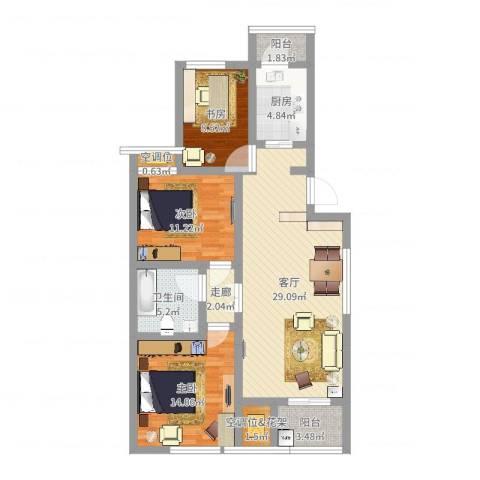 龙腾苑六区3室1厅1卫1厨103.00㎡户型图