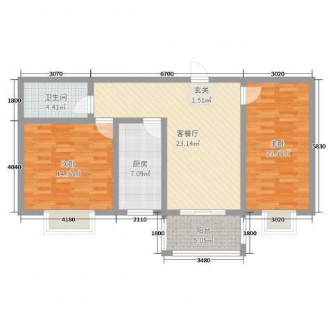银鹭・金柏湾2室2厅1卫1厨99.00㎡户型图