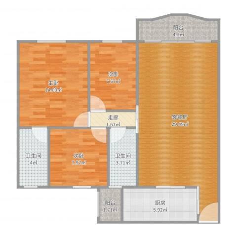 盈翠园3室2厅2卫1厨100.00㎡户型图