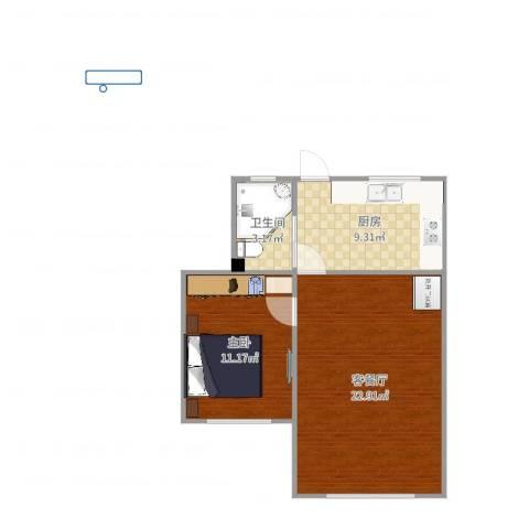 临沂一村1室2厅1卫1厨58.00㎡户型图