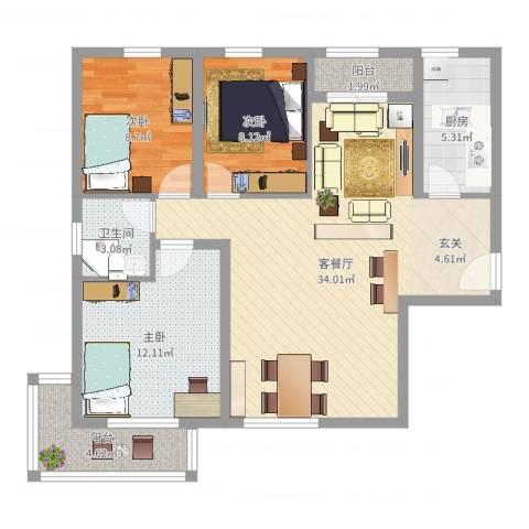 新野上郡3室2厅1卫1厨97.00㎡户型图