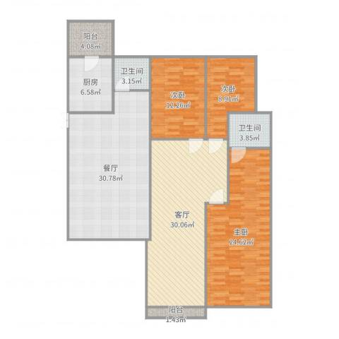 碧桂园别墅3室2厅2卫1厨157.00㎡户型图