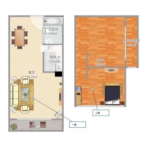 东方顺景1室1厅1卫1厨109.00㎡户型图