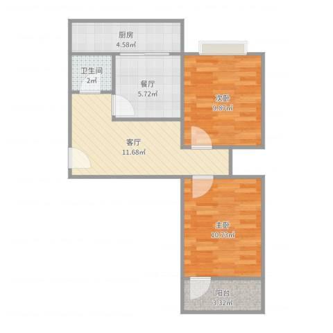 历山东路建委宿舍2室2厅1卫1厨60.00㎡户型图