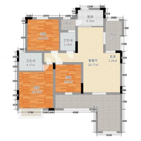帝豪国际城3室2厅2卫1厨109.00㎡户型图