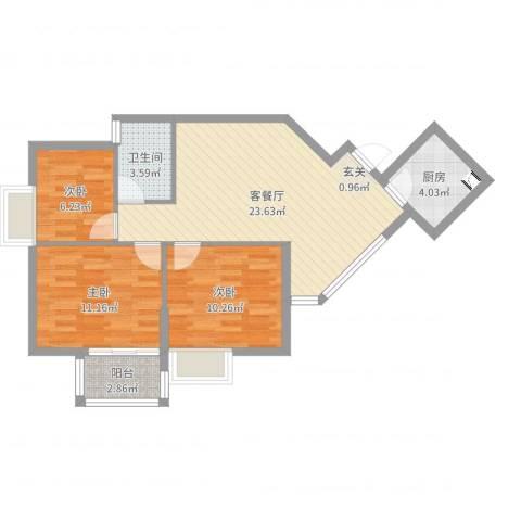 盈家春天3室2厅1卫1厨77.00㎡户型图