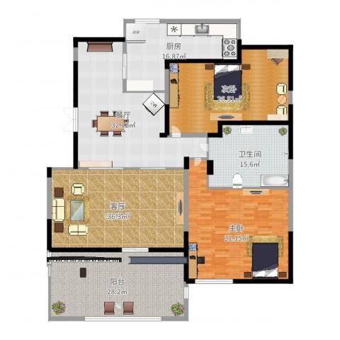 彩虹湖2室1厅1卫1厨230.00㎡户型图