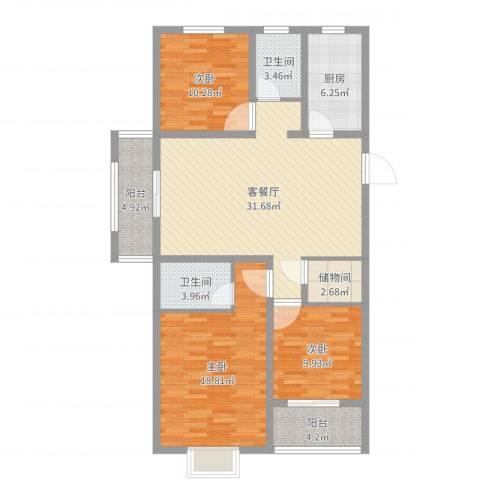 翠竹园3室2厅2卫1厨120.00㎡户型图
