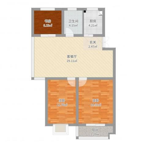 万厦・四季华廷3室2厅1卫1厨91.00㎡户型图