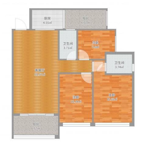 健康花城3室2厅2卫1厨114.00㎡户型图