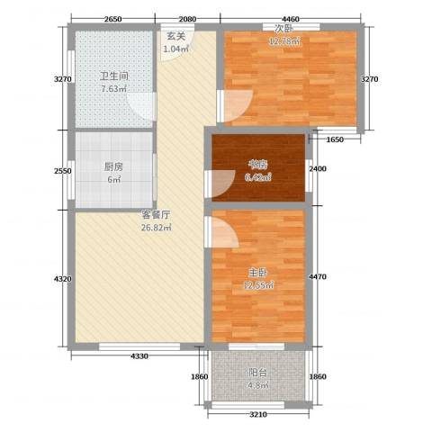 和平嘉园・Ⅲ期3室2厅1卫1厨96.00㎡户型图