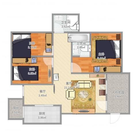 文华花园3室1厅2卫1厨74.00㎡户型图