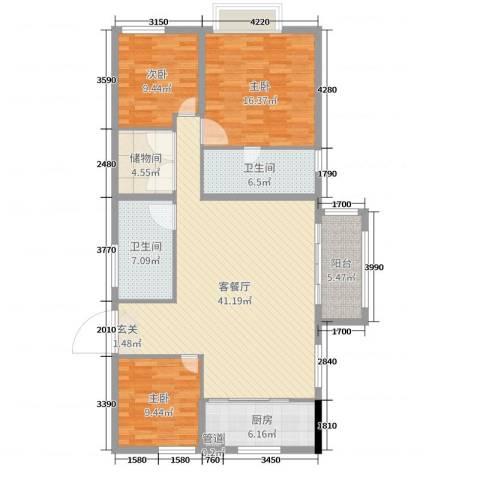 Y-CITY3室2厅2卫1厨133.00㎡户型图