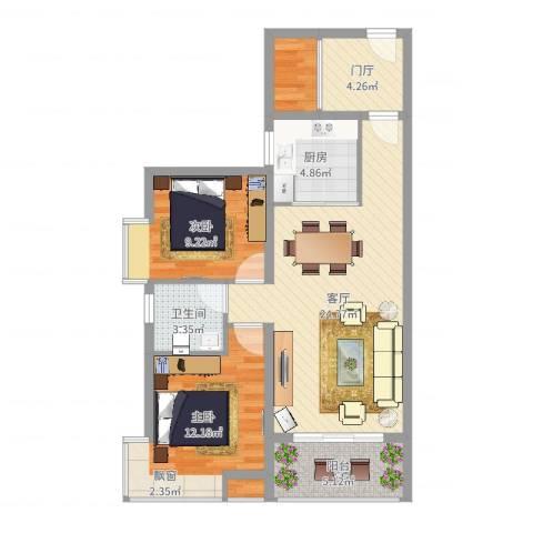 卧龙五洲世纪城2室1厅1卫1厨83.00㎡户型图
