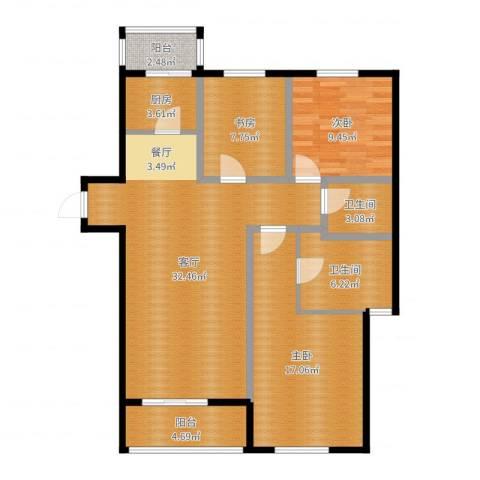 景星花园3室1厅2卫1厨86.80㎡户型图