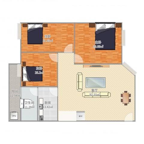 金坤花园3室1厅1卫1厨283.00㎡户型图