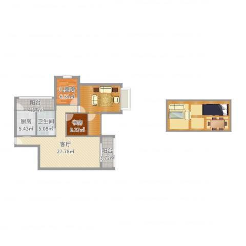 珠海中山雅居乐诺丁山2室1厅1卫1厨119.00㎡户型图
