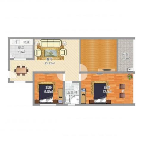 深业东城上邸2室1厅1卫1厨96.00㎡户型图