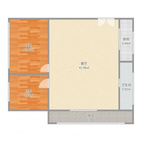 嘉兴万达小区2室1厅1卫1厨98.00㎡户型图