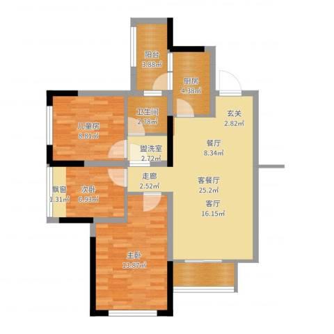合能璞丽3室2厅1卫1厨88.00㎡户型图