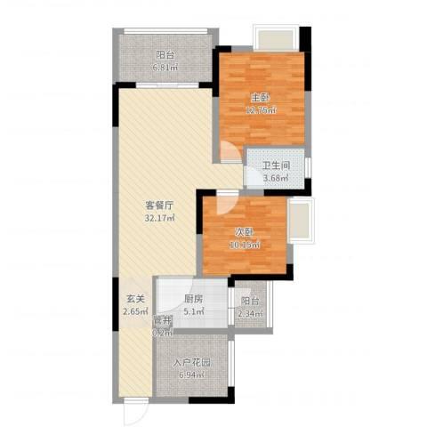 融科海阔天空二期2室2厅1卫1厨100.00㎡户型图