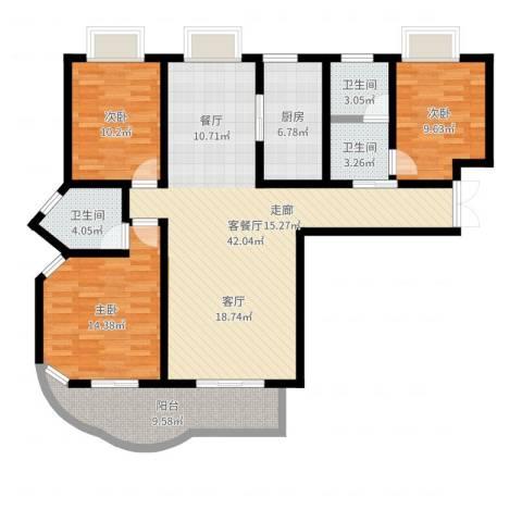 紫麟苑3室2厅3卫1厨129.00㎡户型图