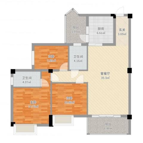 东方华庭3室2厅2卫1厨120.00㎡户型图