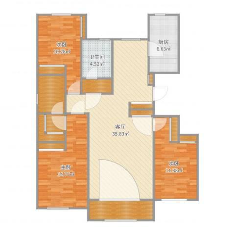 翰澜苑三室两厅两卫1413室1厅1卫1厨126.00㎡户型图