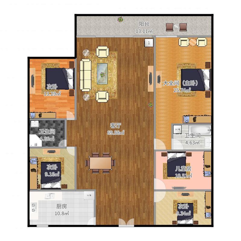 087,鸿威海怡湾B1602,165平,4房2厅2卫2阳台