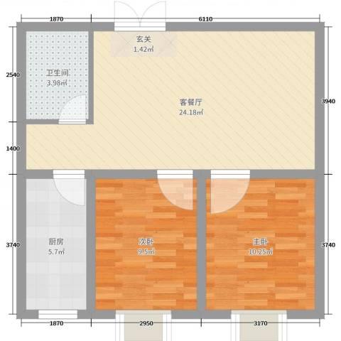 天宇・金地富山2室2厅1卫1厨67.00㎡户型图