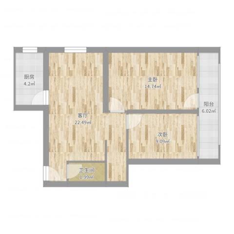 车公庄北里2室1厅1卫1厨73.00㎡户型图
