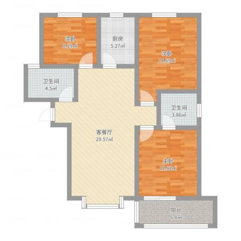 曦城3室2厅2卫1厨106.00㎡户型图