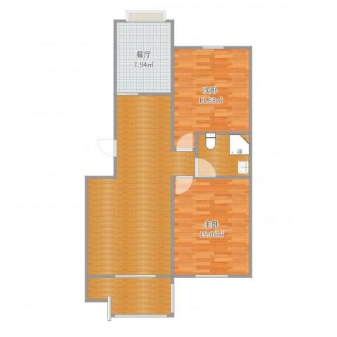 开发区豪润新都小区2室1厅2卫1厨93.00㎡户型图