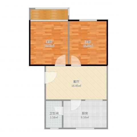 颐美会现代城2室1厅1卫1厨75.00㎡户型图