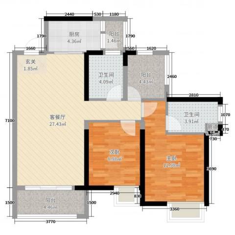 藏珑华府2室2厅2卫1厨95.00㎡户型图