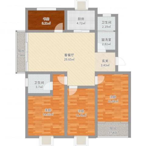 香格里拉丽景苑4室2厅2卫1厨119.00㎡户型图