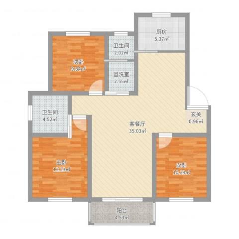 月亮湾3室4厅2卫1厨108.00㎡户型图