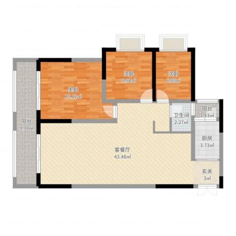 长欣中央广场3室2厅1卫1厨115.00㎡户型图