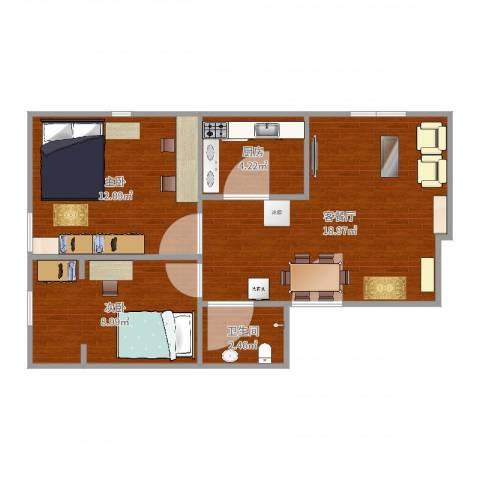 北花园小区2室2厅1卫1厨58.00㎡户型图