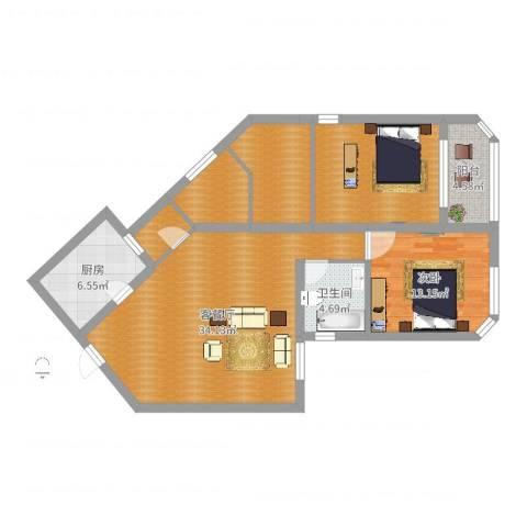 百合花苑1室2厅1卫1厨113.00㎡户型图
