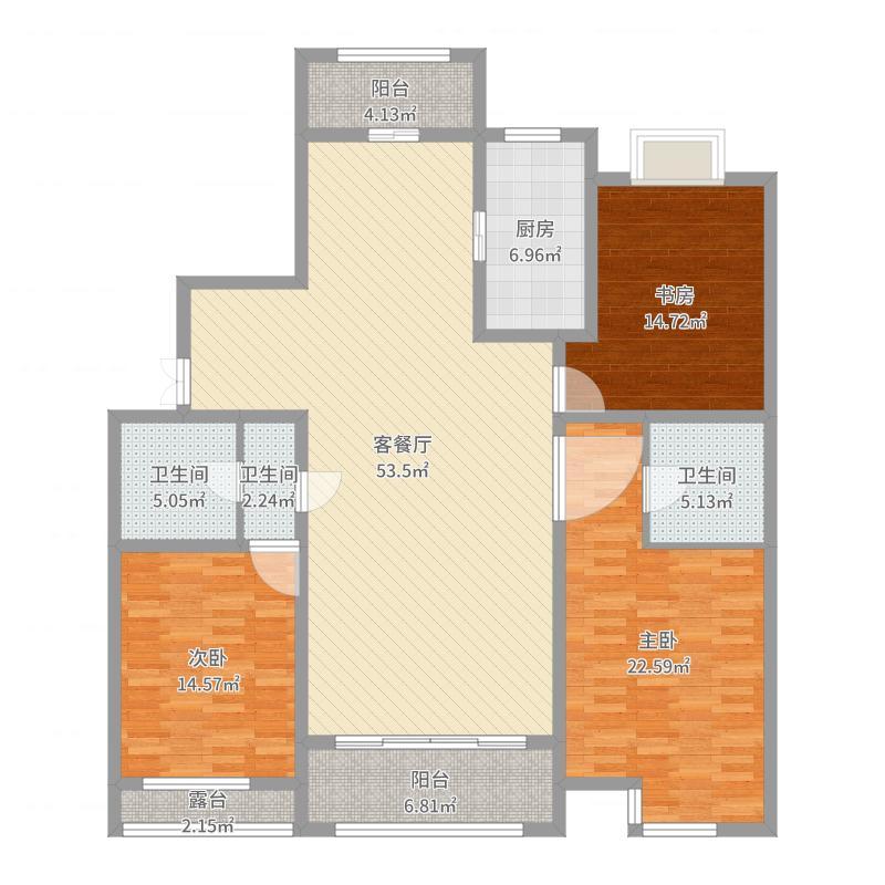 公园壹号R2户型三室两厅两卫