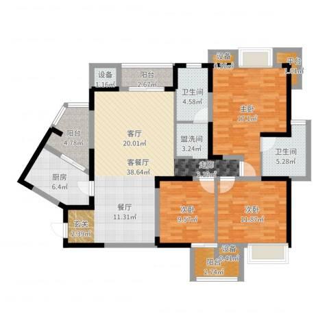 中建康城3室2厅2卫1厨133.00㎡户型图