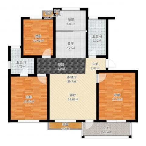 金圆・上都3室2厅2卫1厨136.00㎡户型图