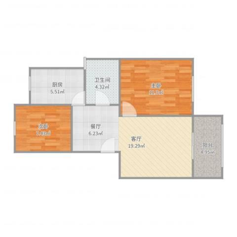 汇颂南苑2室1厅1卫1厨66.00㎡户型图