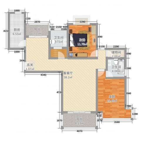 静安阳光名都2室2厅2卫1厨129.00㎡户型图