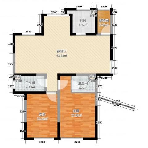 金海名园2室2厅2卫1厨125.00㎡户型图