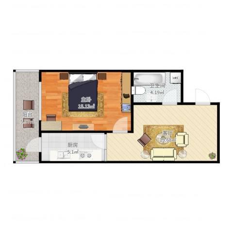 金伦公寓3-2-4021室1厅1卫1厨58.00㎡户型图