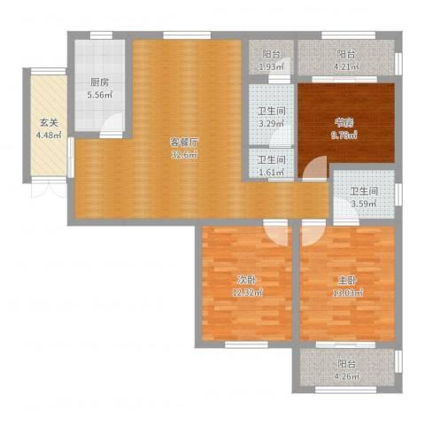 龙翔香格里拉3室2厅3卫1厨121.00㎡户型图