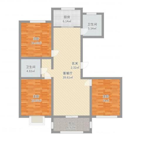 广泰瑞景城3室2厅2卫1厨132.00㎡户型图